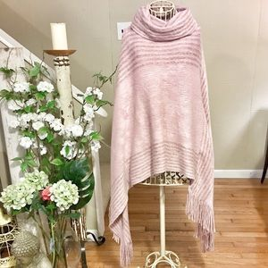 Sweaters - Soft and silky blush pink cape poncho sweater